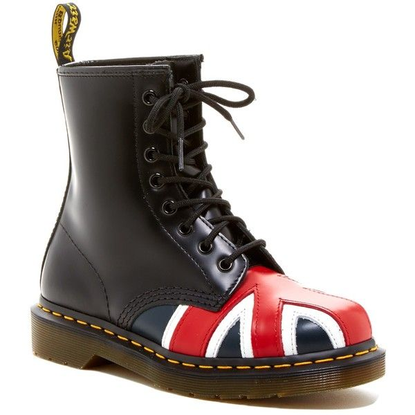 Dr. Martens Union Jack Combat Boot (Unisex) ($100) ❤ liked on Polyvore featuring shoes, boots, ankle booties, ankle boots, dr martens boots, platform booties, combat boots and lace up combat boots