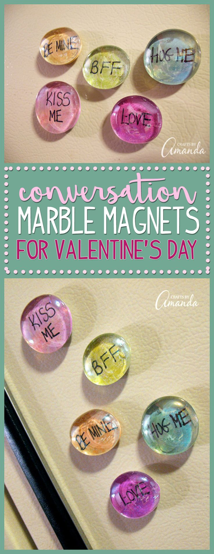 These conversation marble magnets are a simple craft for Valentine's Day. They take only minutes to make and are an inexpensive gift for neighbors, friends and teachers. Inspired by conversation hearts, these glass gem magnets are a great Valentine's Day project for adults and for kids.