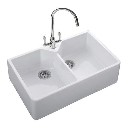 rangemaster double belfast 2 bowl white fire clay ceramic sink 800 x 500mm - Double Ceramic Kitchen Sink