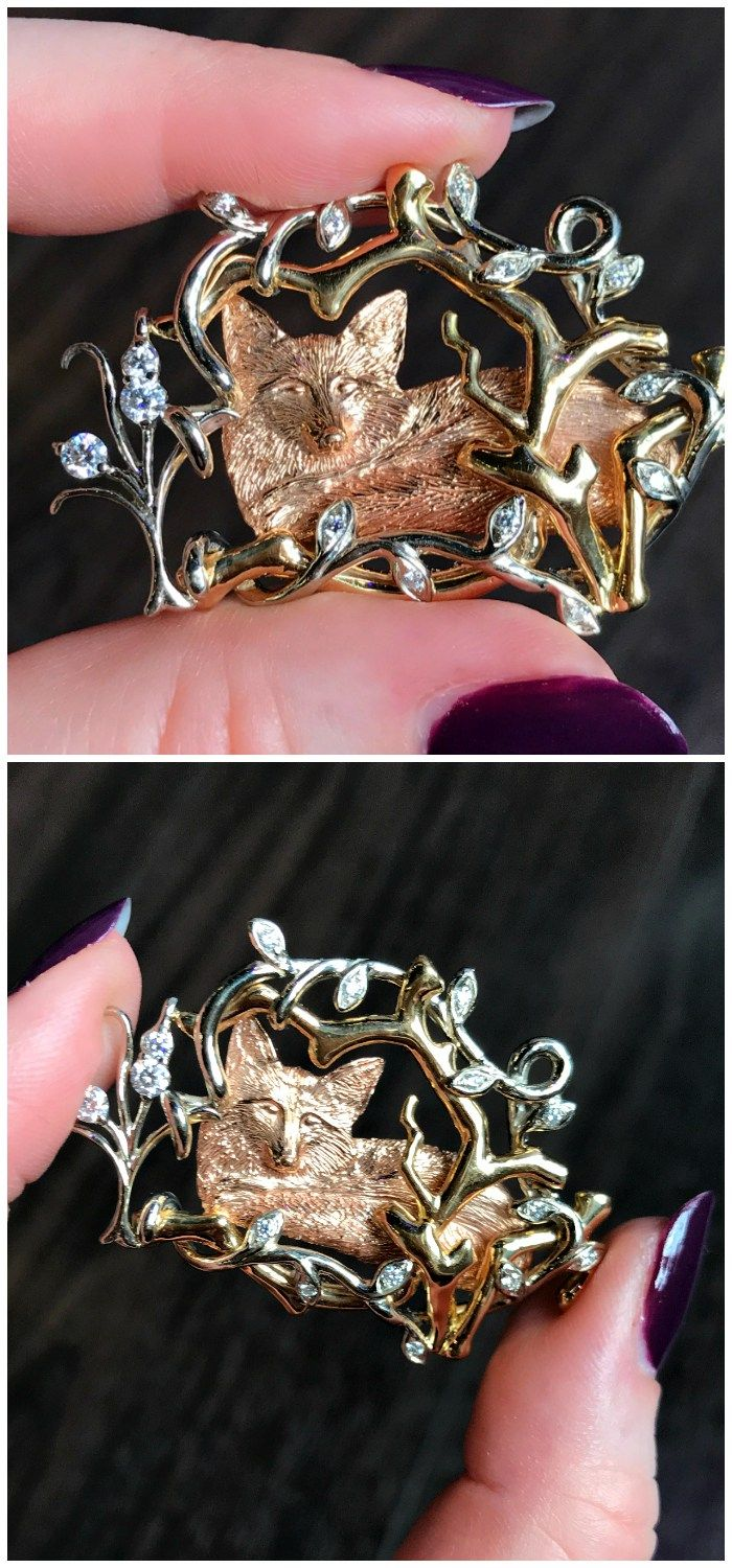 A beautiful handmade fox brooch by Hunt Country Jewelers. So wonderfully made, with sparkling diamond details!