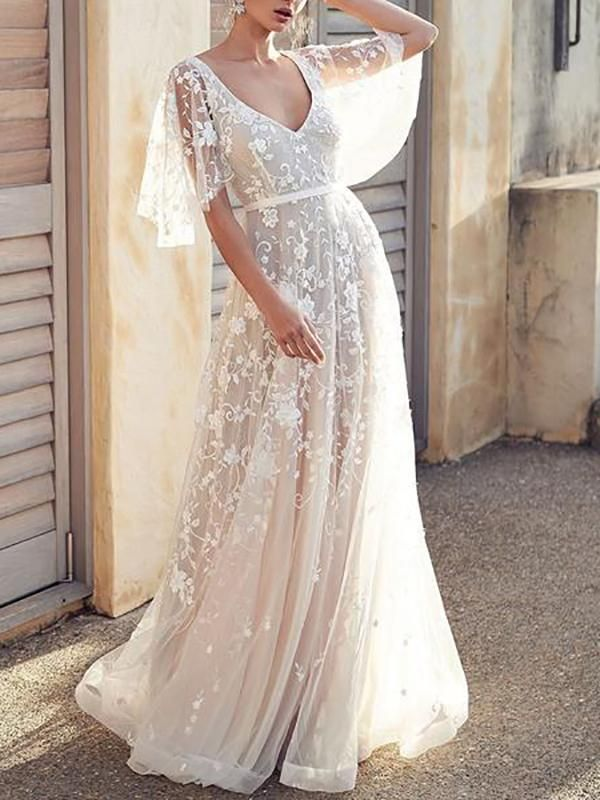 Mode Spitze V-Ausschnitt Halfter Abend Maxi-Kleid