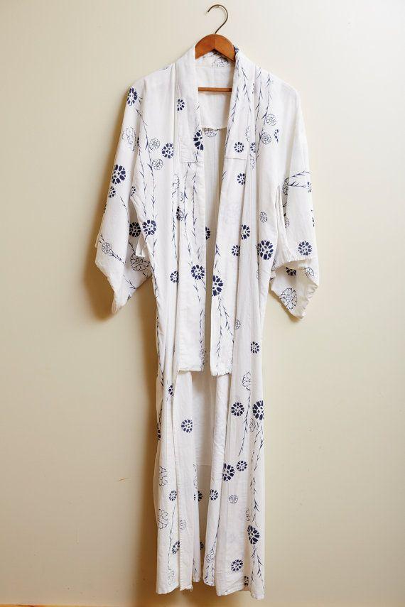 1980s Japanese Yukata Cotton Kimono In Blue and White Floral Print