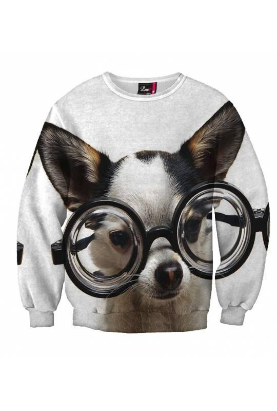 "$59 A wise look is the key to popularity. The learned dog featured on this sexy sweater will help you transform your image completely. A perfect choice for school or shopping. You and the ""Smart Dog"" will make the A team!"