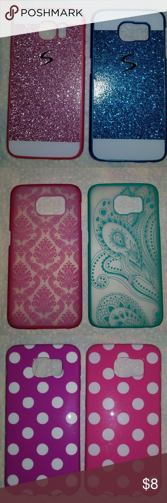 Lot of Samsung Galaxy S6 phone cases Lot of Samsung Galaxy S6 phone cases (12) A variety to choose from. Some never used, others lightly used (I like to change phones cases often, therefore they were rarely used) $8 EACH or the WHOLE LOT for $40 ~  2-3     cases $7 ea 4-6     cases $5 ea 7-10   cases $4 ea WHOLE LOT $40 which is $3.33 ea (If only interested in a few covers, let me know which ones you would like) Accessories Phone Cases