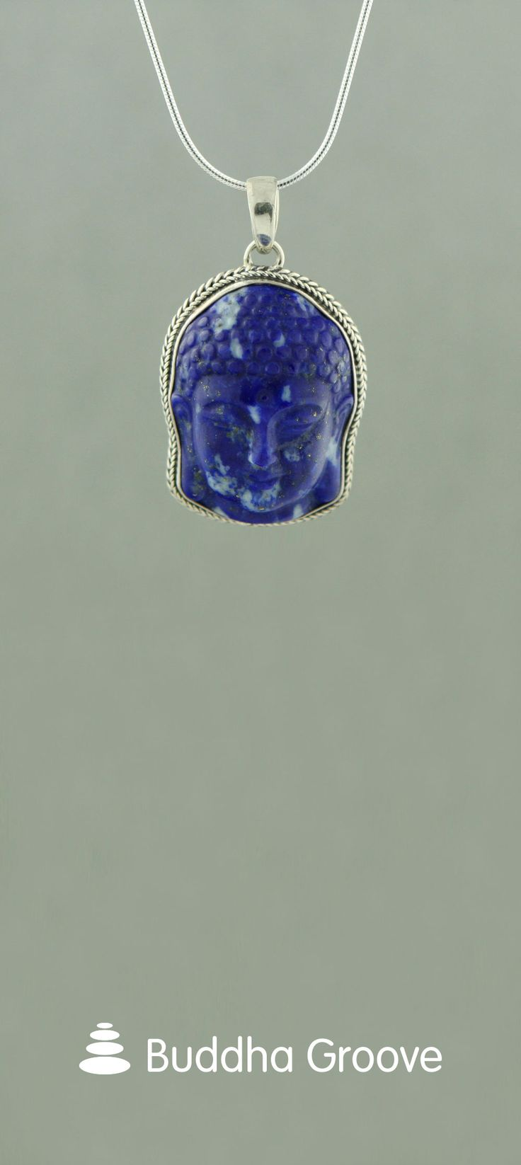 Lapis Lazuli and Sterling Silver Buddha Face Pendant