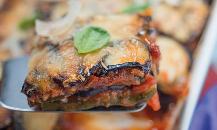 A healthy version of a classic Italian bake. Added another tin of tomatoes and used a while ball of mozzarella
