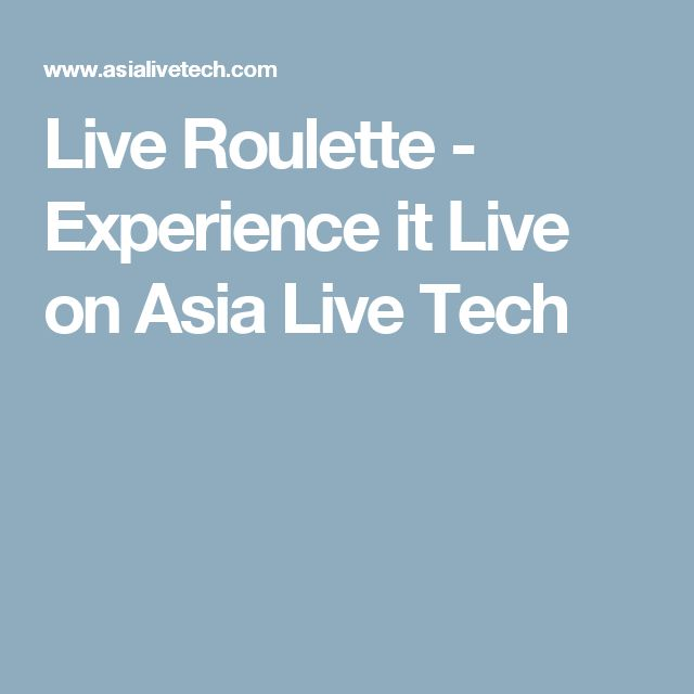 Live Roulette - Experience it Live on Asia Live Tech