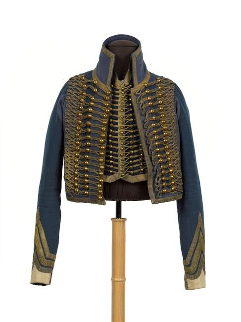French Officer's uniform consisting of a dolman and gilet worn by the 5th Hussars, circa 1800-1815.  Image courtesy of theminiaturespage.com.