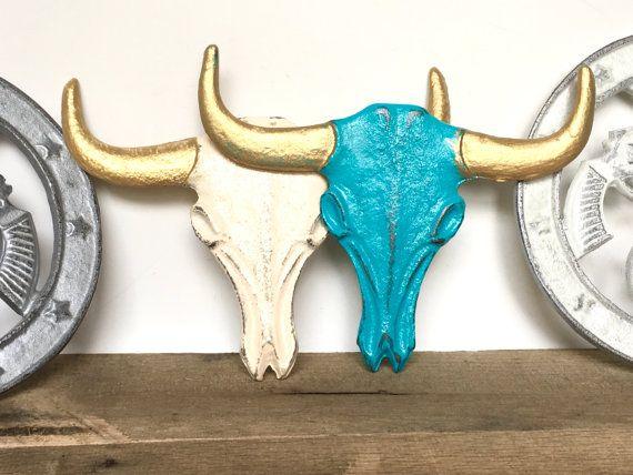 Cast Iron Faux Cow Skull Longhorn Skull от ShineBoxPrimitives