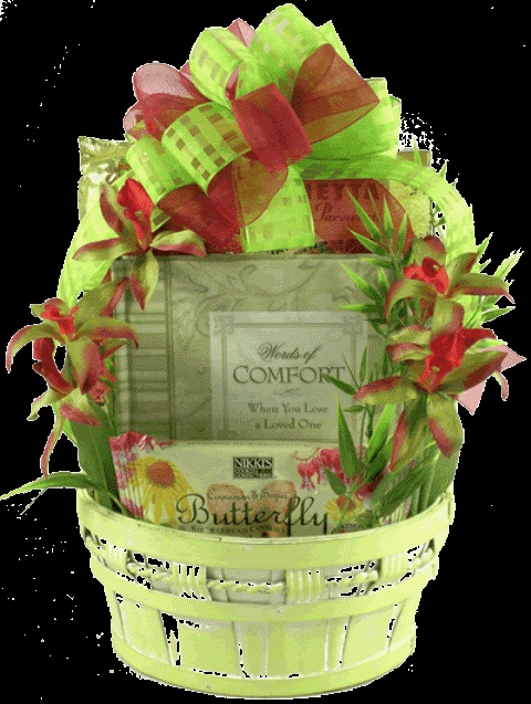 In Remembrance Sympathy Gift Basket    Send them your deepest sympathy wishes with our In Remembrance Sympathy Gift Basket.  This tasteful sympathy gift basket is a unique gourmet arrangement that offers a wonderful sympathy book and a delicious selection of comfort foods, all set in a very unique painted gift basket adorned with a designer bow and life-like silk flowers.  $69.99   http://www.littlegiftbasketboutique.com/item_979/In-Remembrance-Sympathy-Gift-Basket.htm
