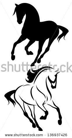 raster - beautiful running horse outline and silhouette - black and white illustration (vector version is available in my portfolio) - stock photo