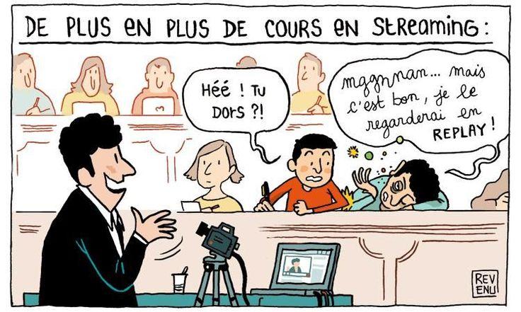 En dessin. Des cours diffusés sur les réseaux sociaux : silence, ça tourne ! - Educpros http://www.letudiant.fr/educpros/actualite/en-dessin-julien-revenu-croque-enseignement-superieur.html Très vrai !