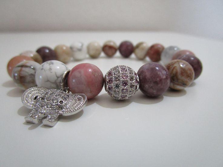 Pulsera de Turmalina rosa,Howlita,Rodonita y Jaspe paisaje,Pulsera piedras…