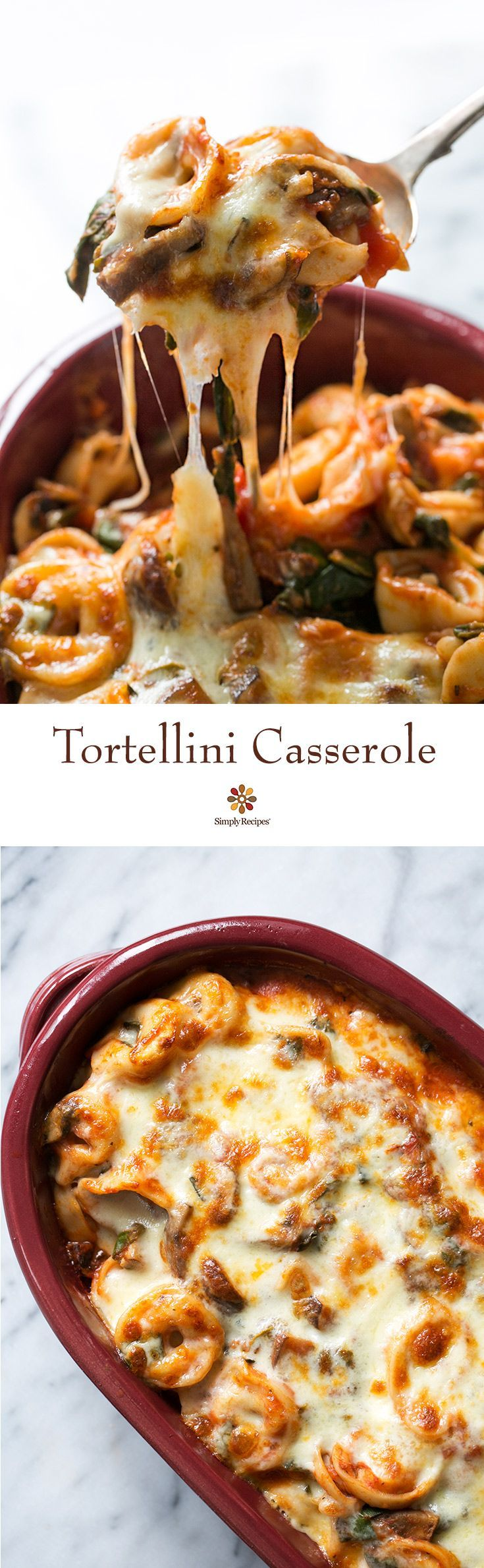 Easy cheesy tortellini casserole! With cheese tortellini, mushrooms, chard, Parmesan and melty Mozzarella cheese. As good as lasagna in half the time! On SimplyRecipes.com