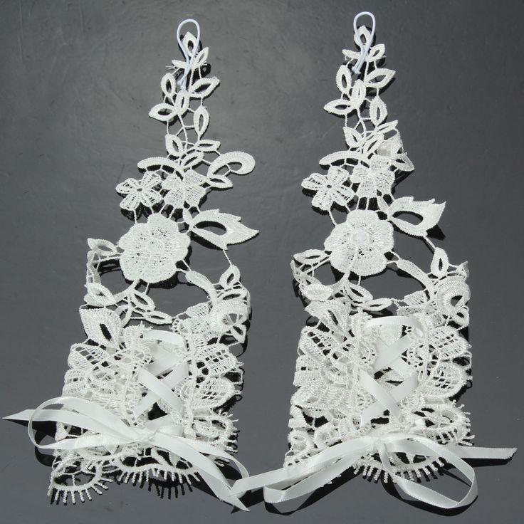 Bridal Gloves Rhinestone Lace Flower White Bride Wedding Party Prom Dress Fingerless at Banggood