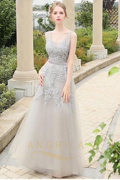 cea12aa4ef6 Vintage A-Line Lace Applique Beading Formal Prom Dresses  prom  promdresses   formaleveningdresses  long  angrila