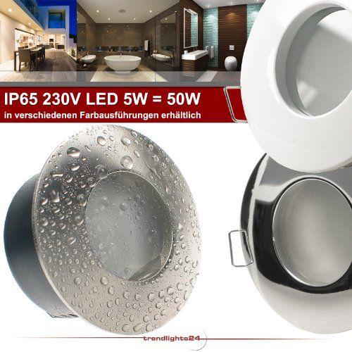 6er Set (6-10er Sets) Decken Einbaustrahler Bad NAUTIC IP65 rund 230V WEISS; COB LED 5W = 50W Neutral-Weiß/Kalt-Weiß; Einbauleuchte für Feuchtraum + Außen - http://led-beleuchtung-lampen.de/6er-set-6-10er-sets-decken-einbaustrahler-bad-nautic-ip65-rund-230v-weiss-cob-led-5w-50w-neutral-weisskalt-weiss-einbauleuchte-fuer-feuchtraum-aussen/ #BadEinbauleuchten