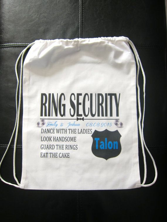 RING SECURITY Personalized Ring Bearer Gift Bag Backpack Security Novelty Wedding Party Gifts