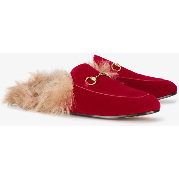 Gucci Red Velvet Fur Lined Princetown