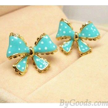 Fashion Dot Lace Trim Bow Earrings Fashion Earrings - Jewelry