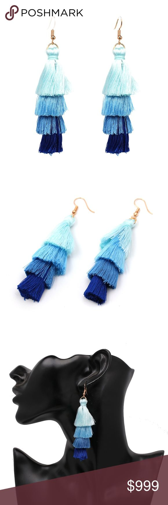 COMING SOON!! Blue Ombré Fringe Tassel Earrings Coming Soon!! (Price available upon arrival). Brand new in original packaging. Boho ombré fringe tassel statement earrings perfect for music festival apparel, a coachella necessity, or bring on a tropical vacation! The dangling ombre fan tassels feature sky blue, aqua, cerulean, & navy colors made of lightweight cotton thread.  Gold tone hook backings.  Multiple colors available! Jewelry Earrings