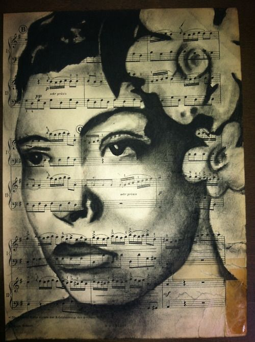 Billie Holiday  Charcoal on antique sheet music  By Rebecca Miller