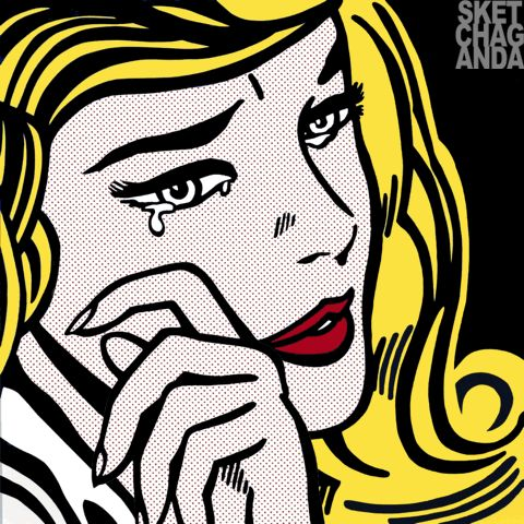 Lichtenstein's Crying Girl gif by Sketchaganda Roy Lichtenstein  Pop art