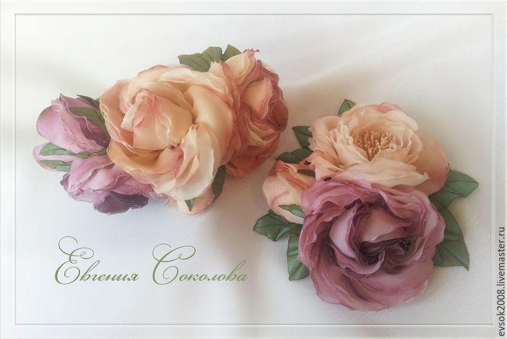 Купить Ободок и брошь. Пудровые розы. - кремовый, пудровый, ободок с цветами, брошь с цветами