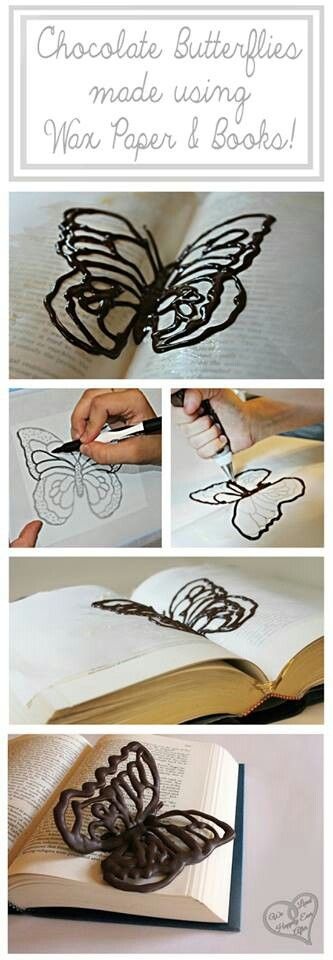 Chocolate butterfly using wax paper and a book - what a great idea for a…