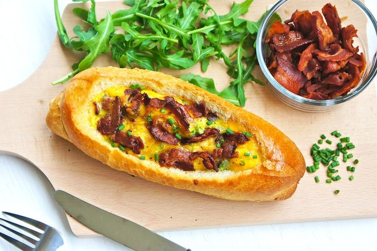 Baguette filled with prosciutto, eggs,cheese, and bacon. I've made this and it turns out awesome! You can use anything you have on hand really.