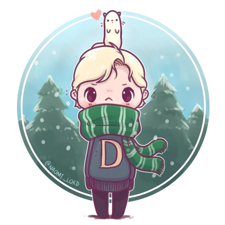 "8,968 Likes, 114 Comments - Naomi Lord (@naomi_lord) on Instagram: ""❄️Winter Draco and a Ferret ❄️ I love drawing chibis with grumpy faces :<  • #draco…"""