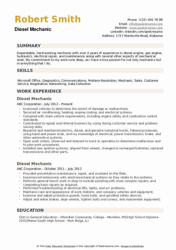 Automotive Mechanic Resume Example Fresh Diesel Mechanic Resume Samples In 2020 Good Resume Examples Resume Examples Mechanic Jobs