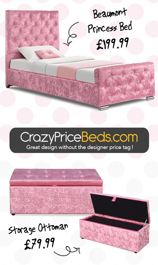 be31e434f8f Beaumont Diamante Pink Crushed Velvet Upholstered Storage Bed Frame -  Single