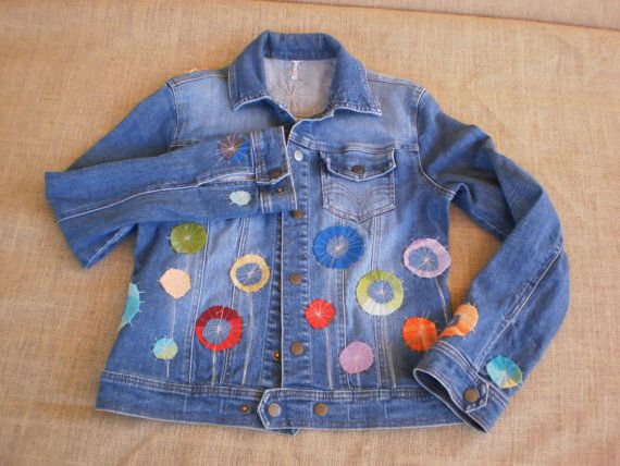 Denim jacket, wool flowers, bohemian hippie Ladies embellished jacket, Hobo, ethnic  cotton denim.  Made in Australia.