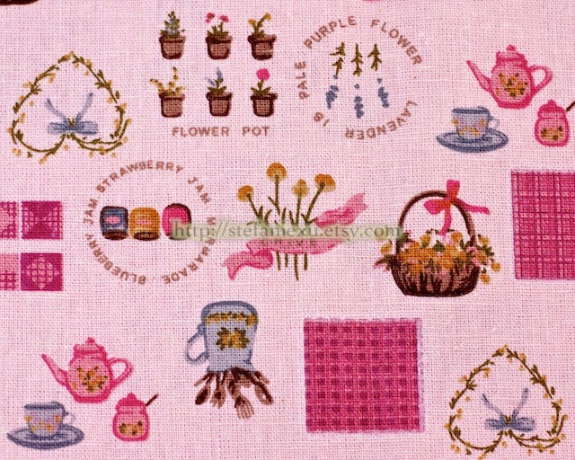 Japanese Linen Cotton Blended Fabric-Sweet Country Style Kitchen Zakka (Pink) (Fat Quarter). $3.50, via Etsy.