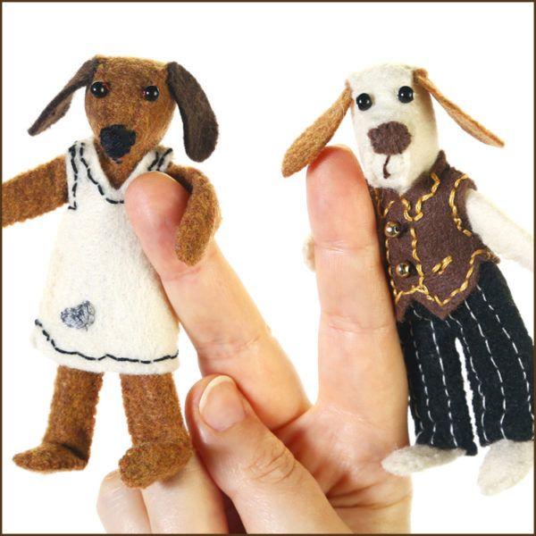 Ted and Tara Felt Bendy Dog Doll Gift Set - Handmade Dog Stuffed Animals - Jennifer D Burrell