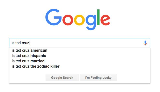 Google Is Totally Open to the Idea That Ted Cruz Is the Zodiac Killer