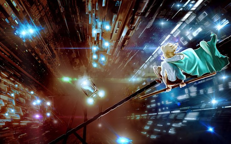 A cyberpunk image inspired by the pop culture of my youth featuring a figure poised on a cable over a chasm created by the monolithic structures of a dizzylingly-high, futuristic megalopolis. For more...