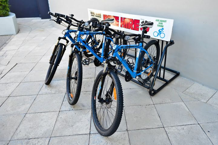 You can hire bikes from the Resort!
