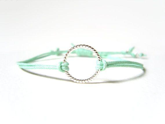 Mint String Bracelet Eternity Bracelet Pastel by JewelleryByJora
