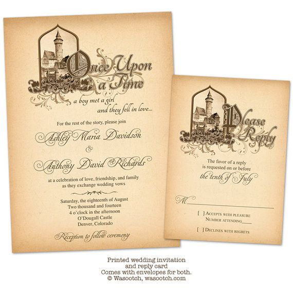 Fairytale Once Upon a Time Medieval Castle Wedding Invitation and RSVP Reply Card Printed