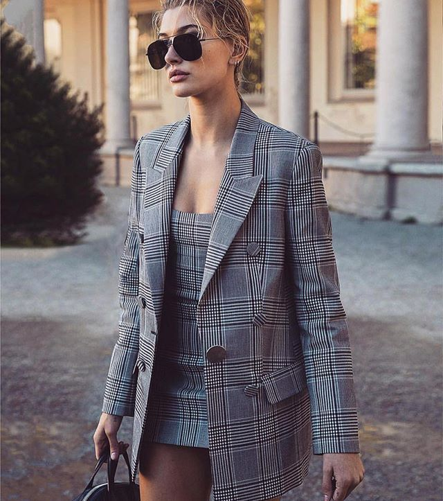 Spotted @haileybaldwin wearing @alexanderwangny plaid set available in store now . . . . #spotted #alexanderwang #plaid #tntthenewtrend #haileybaldein #streetstyle