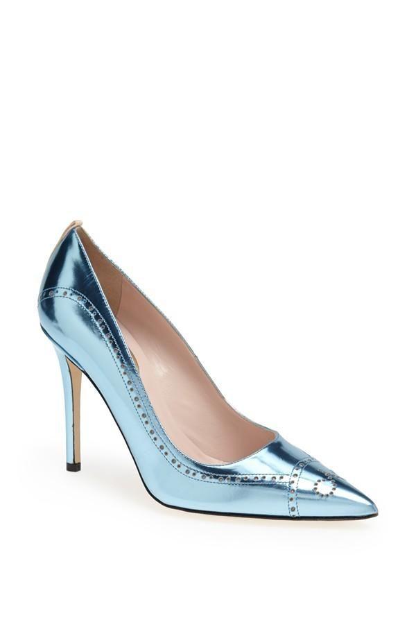 On the wishlist! SJP metallic blue 'Marlene' Brogue Detail Pointy Toe Pump.