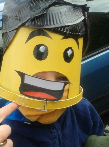 Another school Dress up day creation-  lego man with different mouths to show different moods and detachable lego hair too.....simple yet effective and free! - paper plates and a small bucket.....ta daaaaaa!
