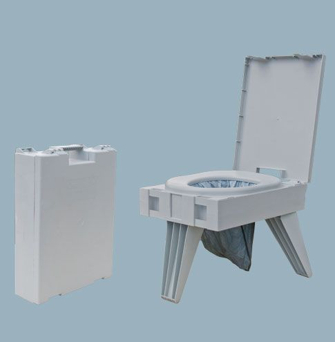 GO ANYWHERE PORTABLE TOILET®/THE PETT®  Enjoy dignified convenience with our safe, sturdy, thoughtfully engineered, premium quality GO anywhere portable toilet®.  Our compact toilet weighs just 7 pounds and folds closed to standard briefcase size.  It provides the comfort, height and ease of use of a standard toilet, supports up to 500 pounds and is stable on uneven ground.  No mixing, messy chemical waste storage tanks or dump stations required.  No assembly required.
