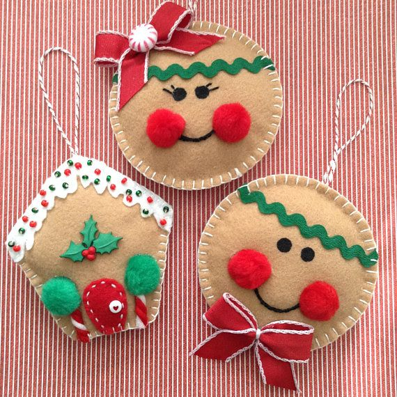 Gingerbread Christmas Ornaments Felt Gingerbread Ornaments Set