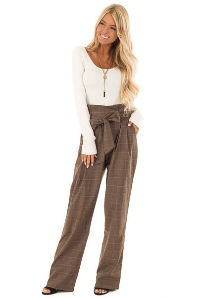 bf318fe0744 Cocoa Plaid Pleated Pants with High Waist and Pockets - Lime Lush Boutique