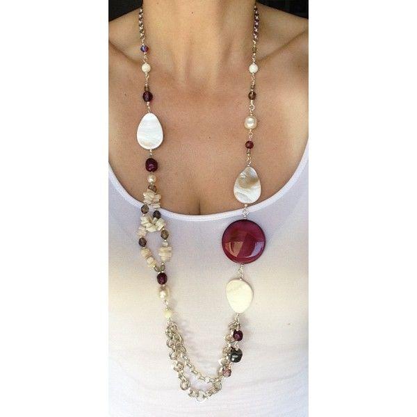 Collana con gocce in madreperla e perle Swarovski Collane lunghe su quisikrea