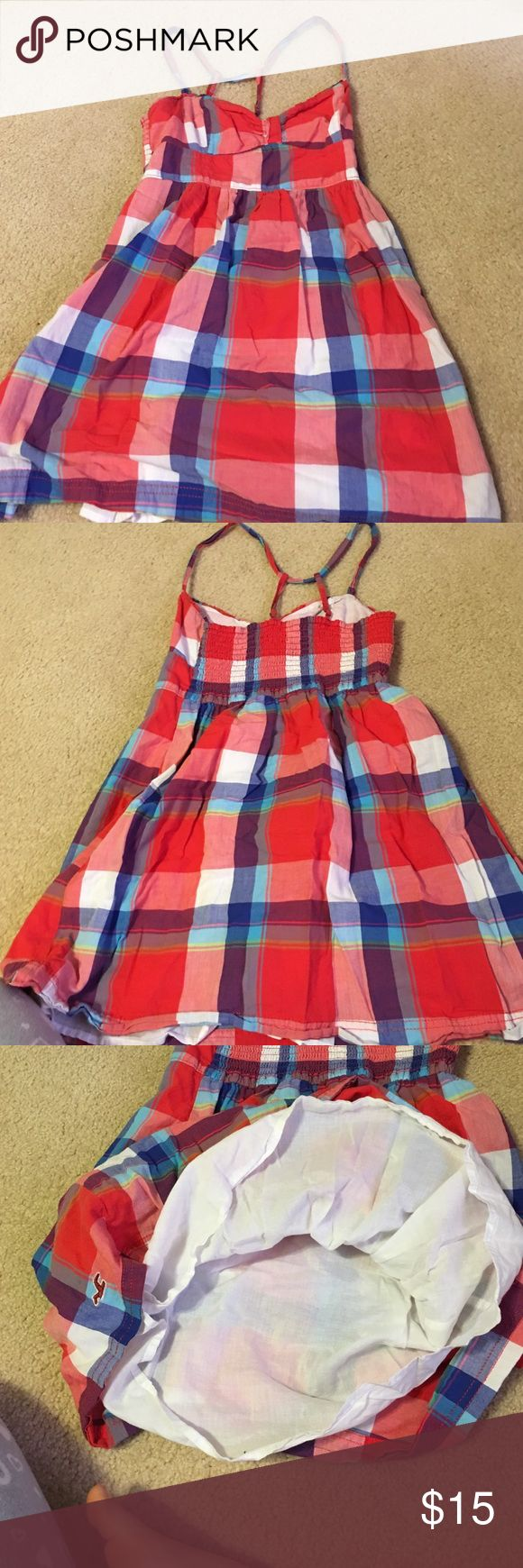 spaghetti strap halter top, hollister dress Hollister plaid dress. over the knee. spagetti halter top Hollister Dresses Mini