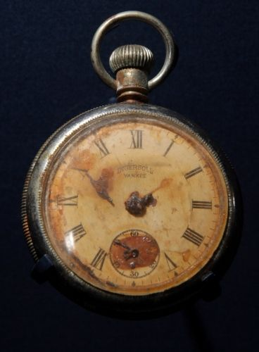 A pocket watch displaying the time ten minutes to two, which was recovered from the body of Titanic steward Sidney Sedunary, is displayed at the museum's Titanic exhibition on April 3, 2012 in Southampton, England.